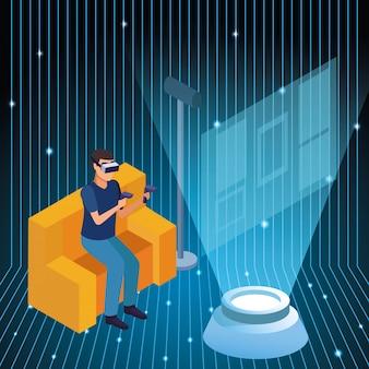 Młody człowiek używający technologii wirtualnej rzeczywistości