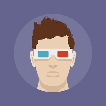 Młody człowiek w 3d stereo okularach