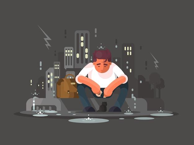 Młody człowiek w depresji