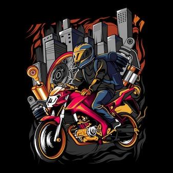 Młody człowiek w hełmie, jazda motocyklem w środku miasta