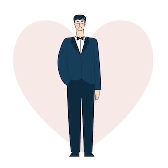 Młody człowiek w niebieskim garniturze, pan młody na weselu, uroczysty uroczystości. ilustracja wektorowa w stylu konspektu, kolorowe doodle.