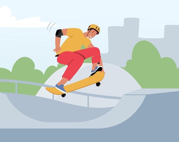 Młody człowiek w nowoczesne ubrania i kask skoki na deskorolce. skater męski charakter aktywności na świeżym powietrzu. chłopiec na deskorolce robi akrobacje na pokładzie w skateparku. ilustracja kreskówka wektor