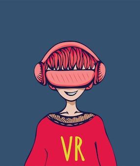 Młody człowiek w okularach wirtualnej rzeczywistości. ilustracja na ciemnym tle.