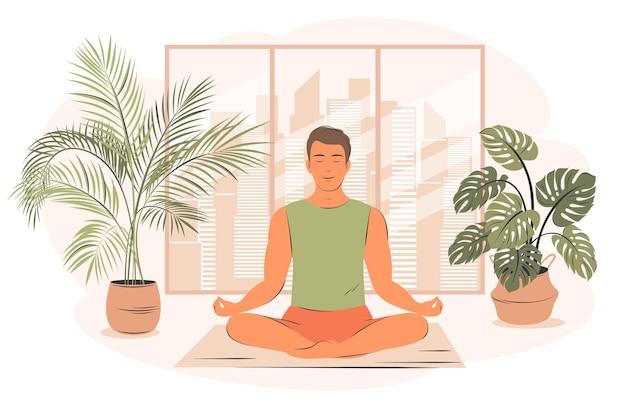 Młody człowiek w pozycji jogi robi medytację, praktykę uważności, duchową dyscyplinę w domu. młody człowiek praktykuje jogę, siedząc z nogami skrzyżowanymi na podłodze. ilustracja wektorowa płaski.