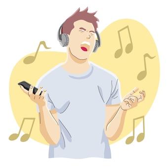 Młody człowiek w słuchawkach, śpiewa i krzyczy podczas słuchania muzyki ze smartfona