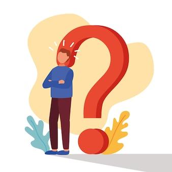 Młody człowiek wątpi z projektowaniem ilustracji wektorowych znak zapytania