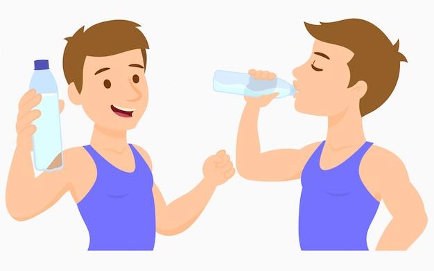 Młody człowiek wody pitnej z butelki
