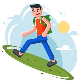 Młody człowiek wspina się na wzgórze. wędrówki w przyrodzie.