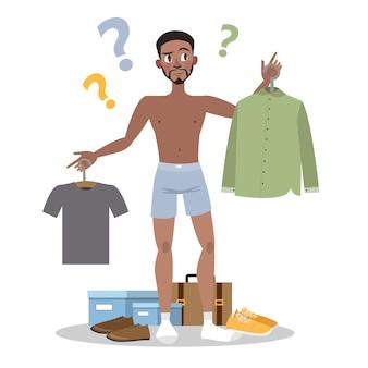 Młody człowiek wybiera między dwoma zestawami ubrań. facet ma wątpliwości, zastanawiając się, w co się dzisiaj ubrać. ilustracja