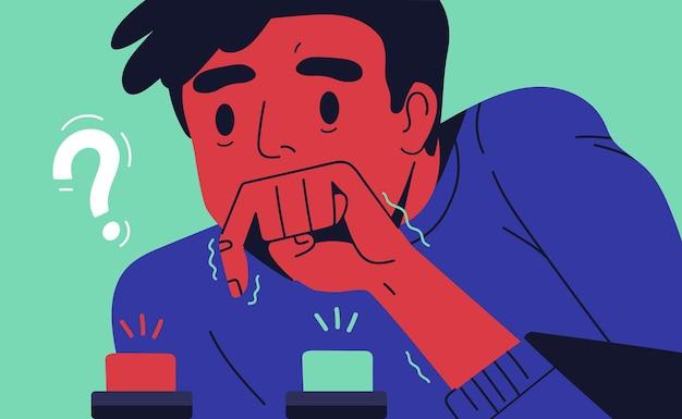 Młody człowiek wybiera przycisk do pchania