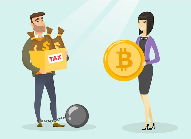 Młody człowiek wybierający płatność wolną od podatku przez bitcoiny.