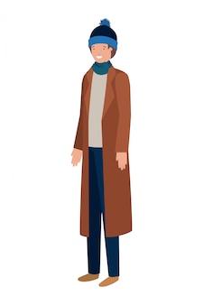 Młody człowiek z awatarem ubrania zimowe charakter