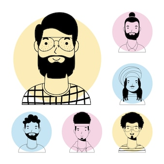 Młody człowiek z brodą i międzyrasowymi mężczyznami w stylu awatara wektorowego