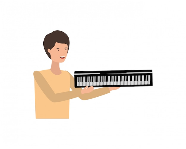 Młody człowiek z charakterem klawiatury fortepianu