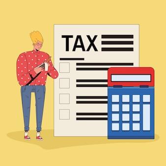 Młody człowiek z charakterem podatku i kalkulatora