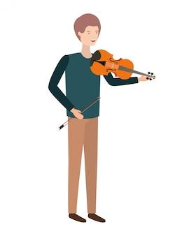 Młody człowiek z charakterem skrzypiec