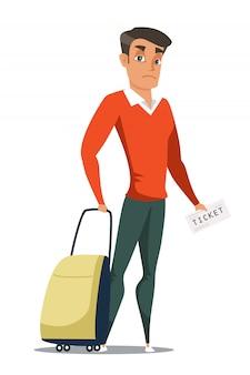Młody człowiek z charakterem walizki i biletu, podróżujący za granicę, turysta na lotnisku lub stacji przed lotem z bagażem, podróż służbowa