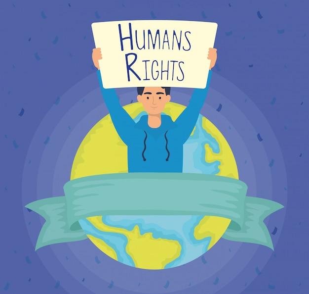 Młody człowiek z etykietą praw człowieka i światowej planety wektor ilustracja projektu