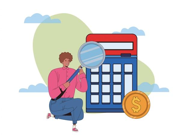 Młody człowiek z finansowych biznesowych ikon ilustracyjnym projektem