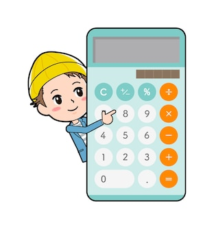 Młody człowiek z gestem kalkulatora navi połowy ciała.