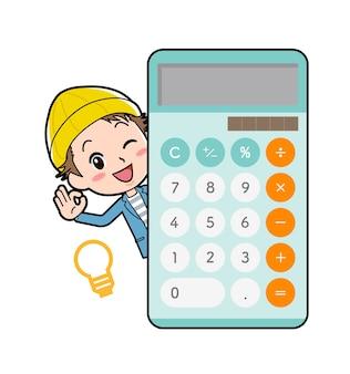 Młody człowiek z gestem kalkulatora połowa ciała ok.