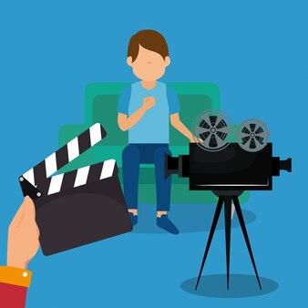Młody człowiek z ikonami kinematograficznymi