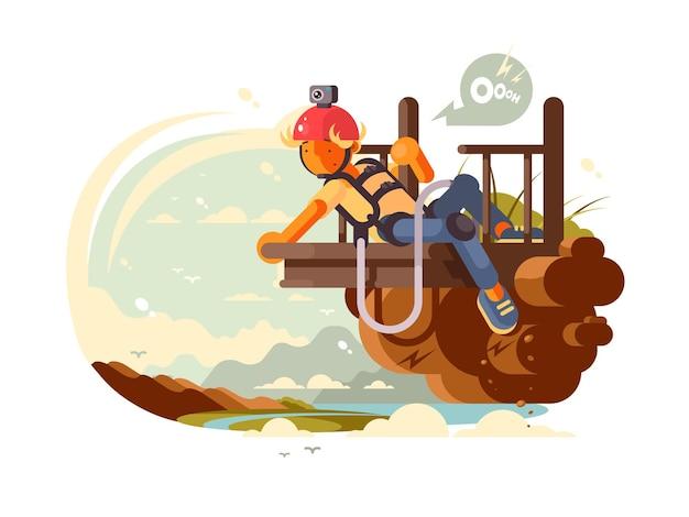 Młody człowiek z kamerą na hełmie przygotowuje się do skoku na bungee. ilustracja wektorowa
