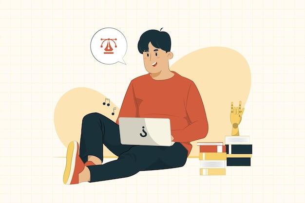 Młody człowiek z laptopa siedząc na podłodze, pracując z koncepcji domu