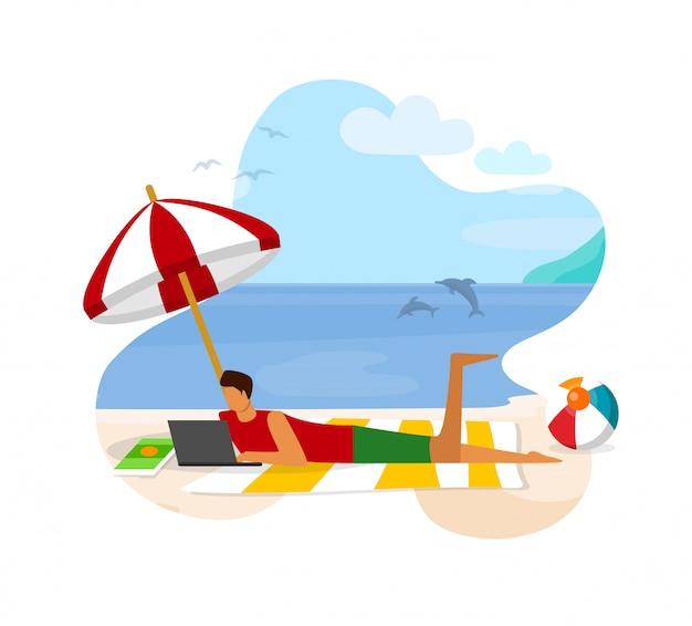 Młody człowiek z laptopem leżąc na piaszczystej plaży pracy