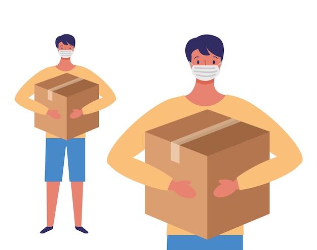 Młody człowiek z maską na twarz i ilustracja kreskówka pudełko darowizny