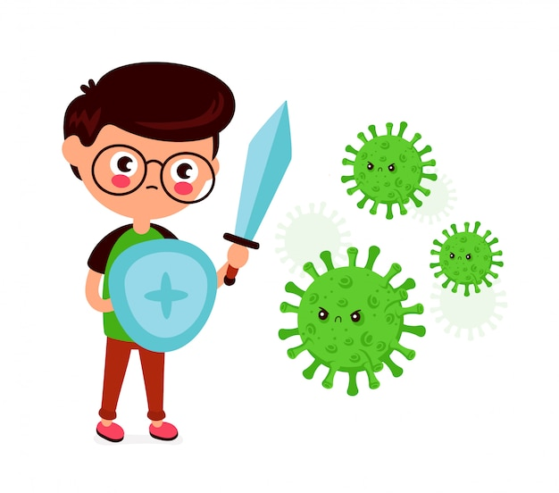Młody człowiek z mieczem i tarczą walczy ze złym zakażeniem koronawirusem, mikro bakteriami.