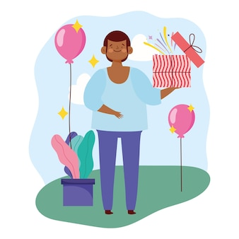 Młody człowiek z otwartym pudełkiem i balony party ilustracji wektorowych
