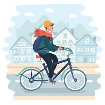 Młody człowiek z rowerem regulując słuchawki, patrząc pewnie do przodu, stoi na placu miasta
