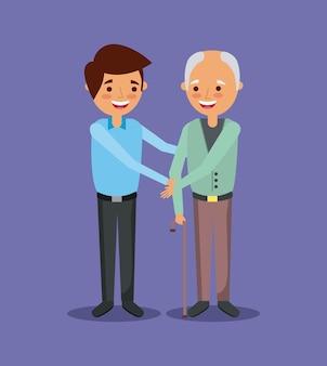 Młody człowiek z starego człowieka mienia ręki pomocą wpólnie