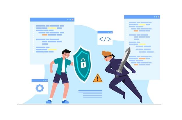 Młody człowiek z tarczą przeciwko przestępczym spiskom złodzieja w czerni w masce z mieczem, idea ochrony, dane dostępu do oprogramowania jako poufne, płaska ilustracja