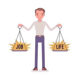 Młody człowiek z wagą równoważącą pracę i życie