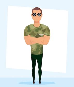 Młody człowiek z wojskowego ubrania charakteru wektorowym ilustracyjnym projektem