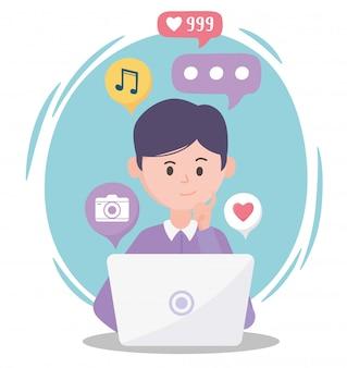 Młody człowiek za pomocą laptopa różne aplikacje komunikacja i technologie społecznościowe