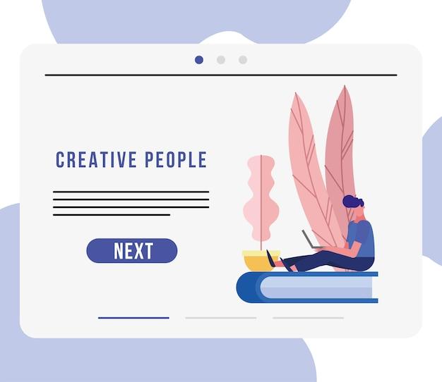 Młody człowiek za pomocą laptopa w pozycji siedzącej w książce projekt ilustracja kreatywnych postaci