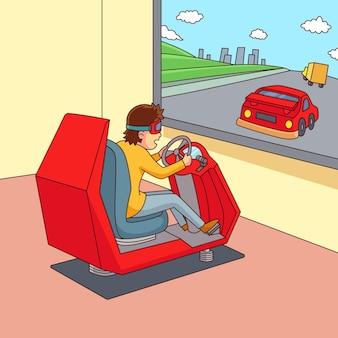 Młody człowiek za pomocą okularów wirtualnej rzeczywistości