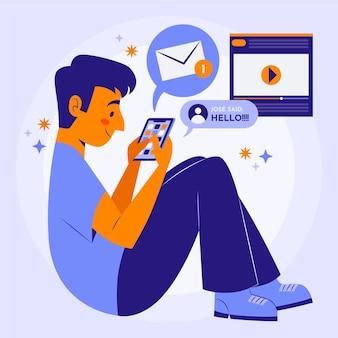 Młody człowiek za pomocą smartfona