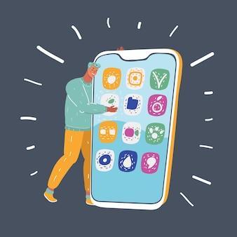 Młody człowiek ze smartfonem