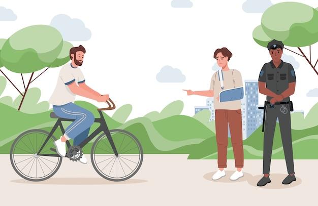 Młody człowiek ze złamaną ręką wskazuje policjanta na płaską ilustrację człowieka rowerzysty.