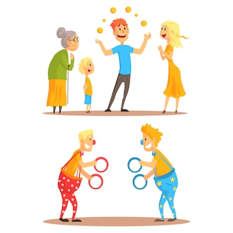 Młody człowiek żongluje pomarańczami przed rodziną.