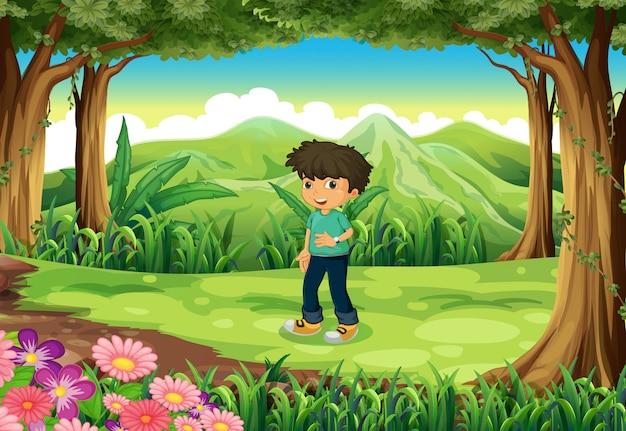Młody dżentelmen w lesie