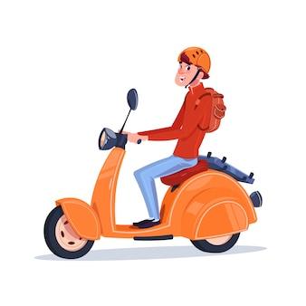 Młody facet konna skuter elektryczny vintage motocykl na białym tle