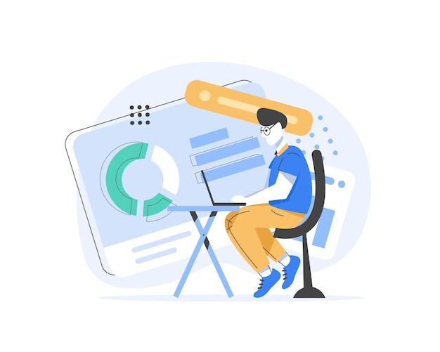 Młody facet programista freelancer pracujący online siedzi na fotelu w biurze przy komputerze, płaska konstrukcja ikona ilustracja