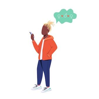 Młody facet z bez twarzy płaski kolor smartfona. styl życia pokolenia z, wolny związek. biseksualny mężczyzna ilustracja kreskówka na białym tle do projektowania grafiki internetowej i animacji