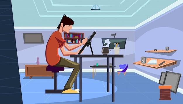 Młody fachowy artysty ilustratora remis piórem na pastylce w jego biurku w domu