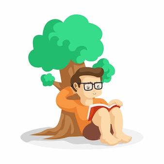 Młody geek chłopiec czytanie książki pod ilustracji wektorowych drzew